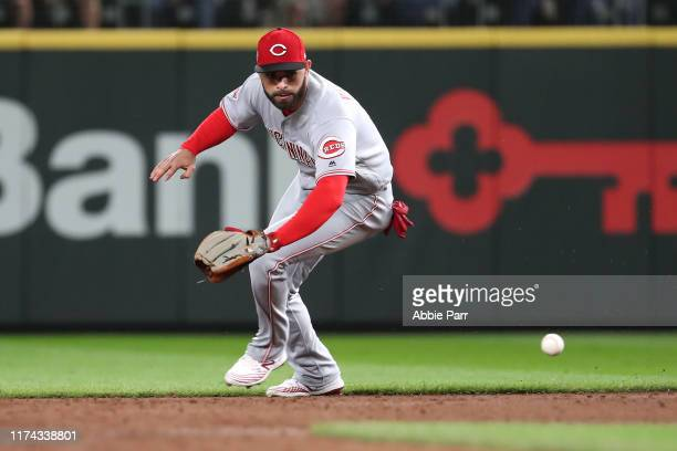 Jose Peraza of the Cincinnati Reds fields the ball in the second inning against the Seattle Mariners during their game at T-Mobile Park on September...