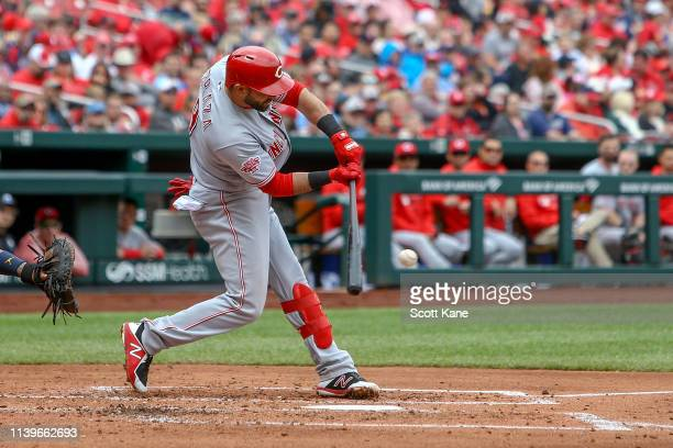 Jose Peraza of the Cincinnati Reds hits a RBI single during the third inning against the St Louis Cardinals at Busch Stadium on April 27 2019 in St...