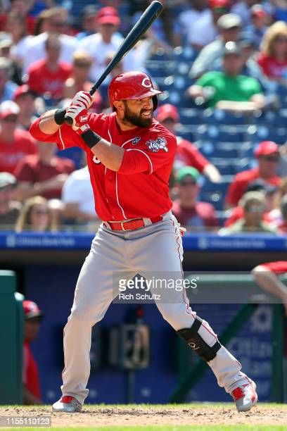 Jose Peraza of the Cincinnati Reds in action against the Philadelphia Phillies during a baseball game at Citizens Bank Park on June 9, 2019 in...
