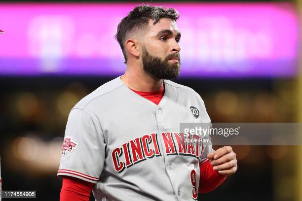 Jose Peraza of the Cincinnati Reds looks on against the Seattle Mariners in the second inning during their game at T-Mobile Park on September 11,...