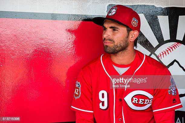 Jose Peraza of the Cincinnati Reds looks on during a spring training game against the Cleveland Indians at Goodyear Ballpark on March 1, 2016 in...