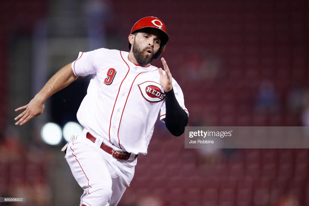 Jose Peraza #9 of the Cincinnati Reds rounds the bases on his way to scoring a run in the fifth inning of a game against the St. Louis Cardinals at Great American Ball Park on September 20, 2017 in Cincinnati, Ohio. The Cardinals won 9-2.