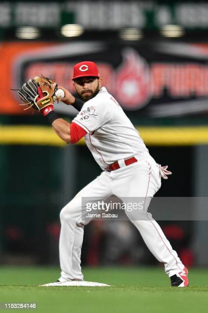 Jose Peraza of the Cincinnati Reds throws to first base against the Washington Nationals at Great American Ball Park on May 31, 2019 in Cincinnati,...
