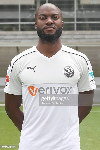 Jose Pierre Vunguidica poses during the offical team presentation of SC Sandhausen at Hardtbergstadion on July 24 2016 in Sandhausen Germany