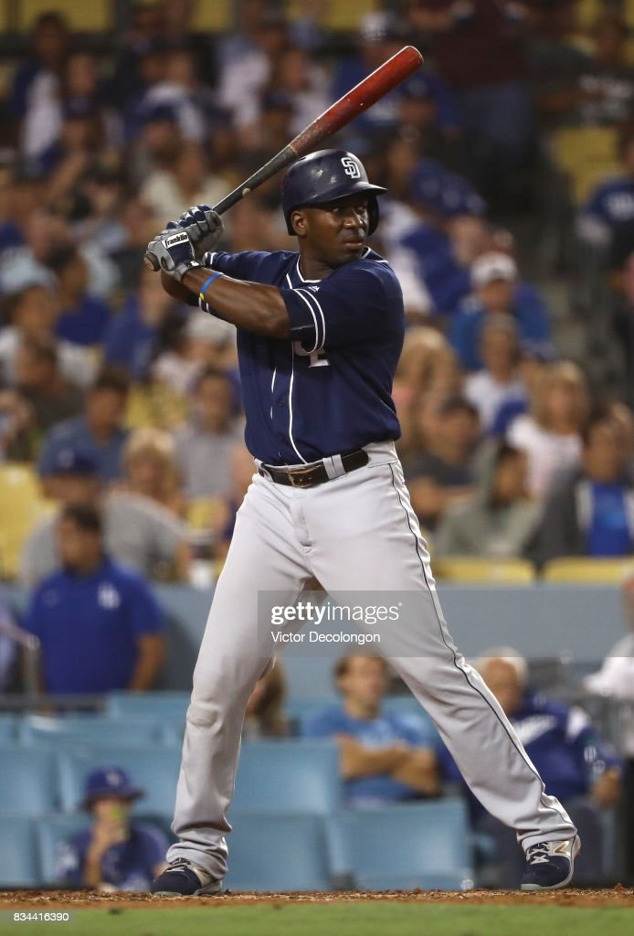 Jose Pirela #2 of the San Diego Padres bats in the fifth inning during the MLB game against the Los Angeles Dodgers at Dodger Stadium on August 11, 2017 in Los Angeles, California. The Padres defeated the Dodgers 4-3.