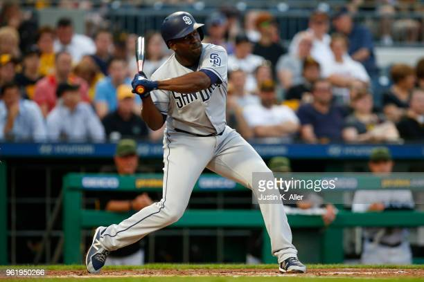 Jose Pirela of the San Diego Padres in action against the Pittsburgh Pirates at PNC Park on May 17 2018 in Pittsburgh Pennsylvania Jose Pirela