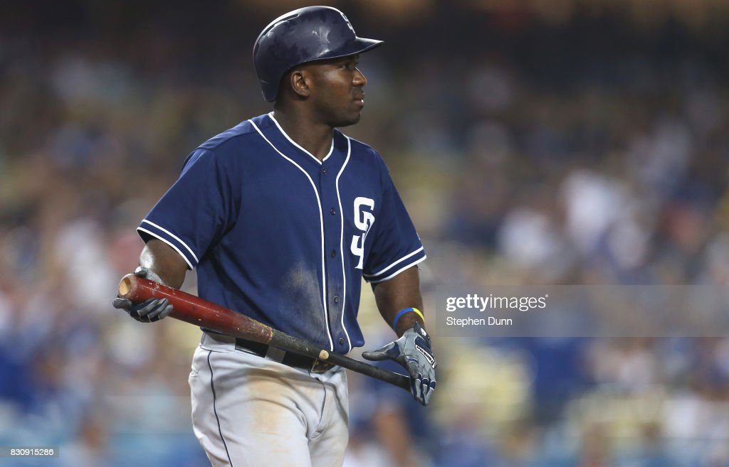 Jose Pirela #2 of the San Diego Padres reacts after striking out with two runners on base in the ninth inning against closer Kenley Jansen #74 of the Los Angeles Dodgers at Dodger Stadium on August 12, 2017 in Los Angeles, California. The Dodgers won 6-3.