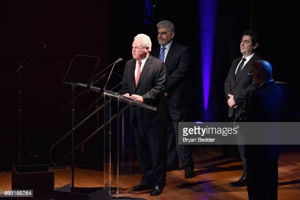 Jose Placido Domingo Marc Stern and Alvaro Maurizio Domingo speak onstage at Lincoln Center Hall Of Fame Gala at the Alice Tully Hall on June 6 2017...