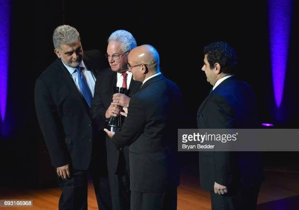 Jose Placido Domingo Marc Stern Marc Scorca and Alvaro Maurizio Domingo onstage at Lincoln Center Hall Of Fame Gala at the Alice Tully Hall on June 6...