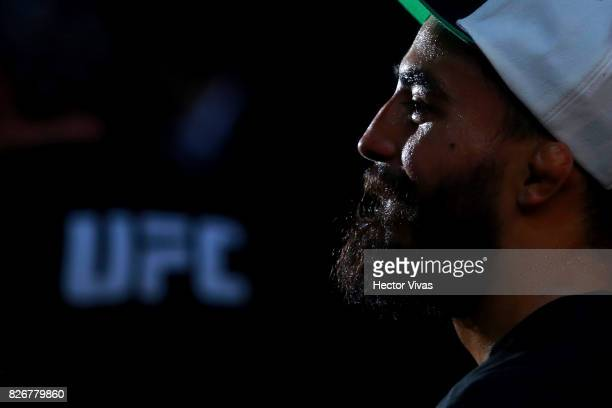 Jose Quinonez of Mexico looks on after his victory against Diego Rivas during the UFC Fight Night Mexico City at Arena Ciudad de Mexico on August 05...