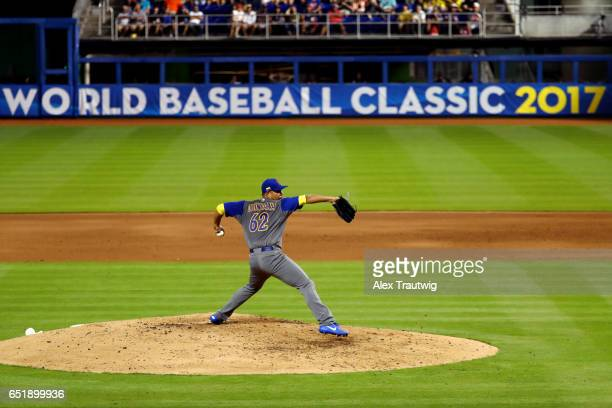 Jose Quintana of Team Colombia pitches during Game 2 Pool C of the 2017 World Baseball Classic against Team USA on Friday March 10 2017 at Marlins...