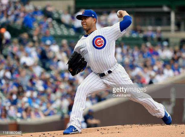 Jose Quintana of the Chicago Cubs delivers the ball in the first inning against the Cincinnati Reds at Wrigley Field on May 26 2019 in Chicago...