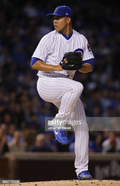 Jose Quintana of the Chicago Cubs pitches against the New York Mets at Wrigley Field on September 12 2017 in Chicago Illinois The Cubs defeated the...