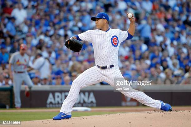 Jose Quintana of the Chicago Cubs pitches against the St Louis Cardinals during the first inning at Wrigley Field on July 23 2017 in Chicago Illinois