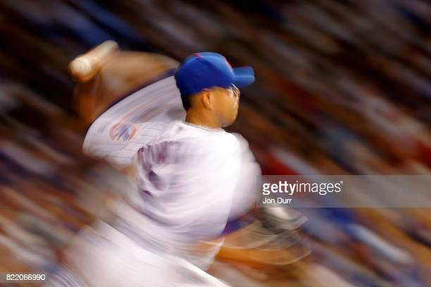 Jose Quintana of the Chicago Cubs pitches against the St Louis Cardinals during the sixth inning at Wrigley Field on July 23 2017 in Chicago Illinois...