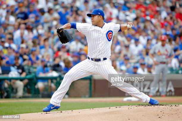 Jose Quintana of the Chicago Cubs pitches against the St Louis Cardinals during the first inning at Wrigley Field on September 17 2017 in Chicago...
