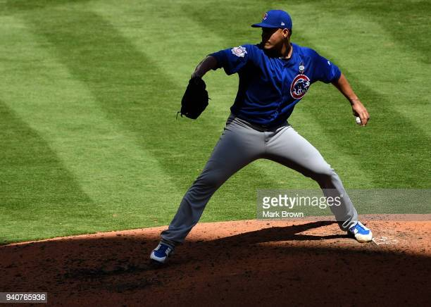 Jose Quintana of the Chicago Cubs pitches in the fifth inning against the Miami Marlins at Marlins Park on April 1 2018 in Miami Florida