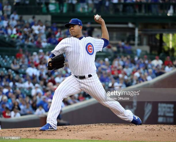 Jose Quintana of the Chicago Cubs pitches in the first inning during the game against the St Louis Cardinals at Wrigley Field on May 05 2019 in...