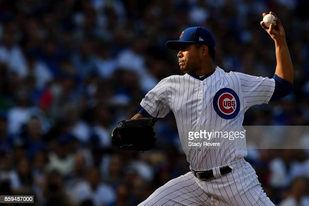 Jose Quintana of the Chicago Cubs pitches in the third inning against the Washington Nationals during game three of the National League Division...