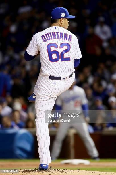 Jose Quintana of the Chicago Cubs pitches in the third inning against the Los Angeles Dodgers during game five of the National League Championship...
