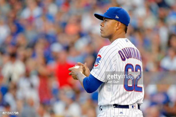 Jose Quintana of the Chicago Cubs reacts after giving up a two run home run to Randal Grichuk of the St Louis Cardinals during the second inning at...