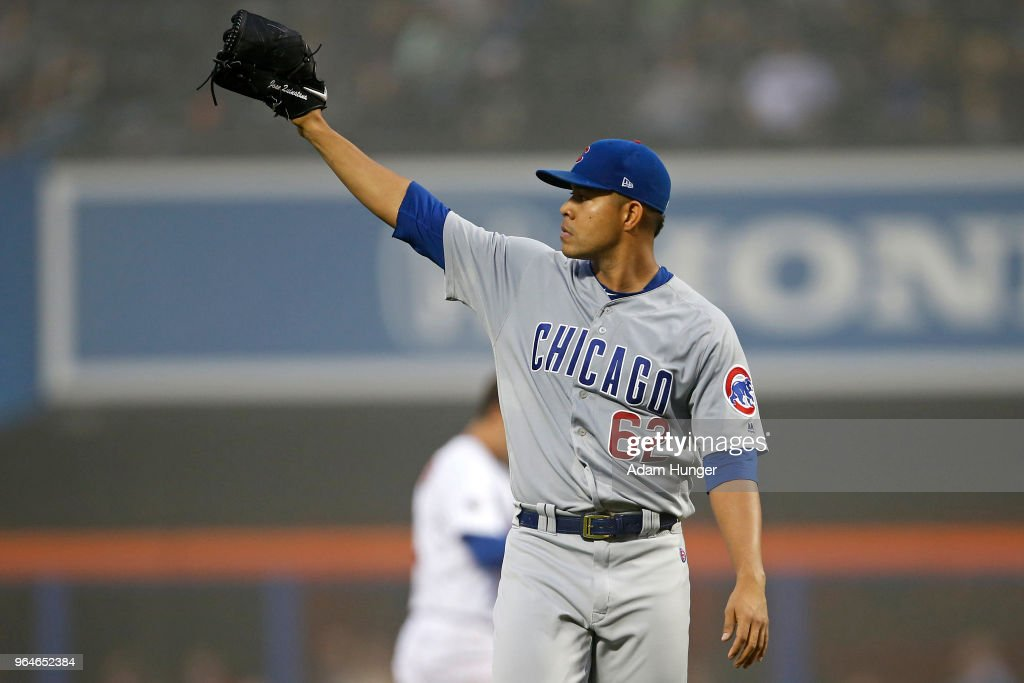 Jose Quintana #62 of the Chicago Cubs reacts after Michael Conforto #30 of the New York Mets was out at second base during the second inning at Citi Field on May 31, 2018 in the Flushing neighborhood of the Queens borough of New York City.