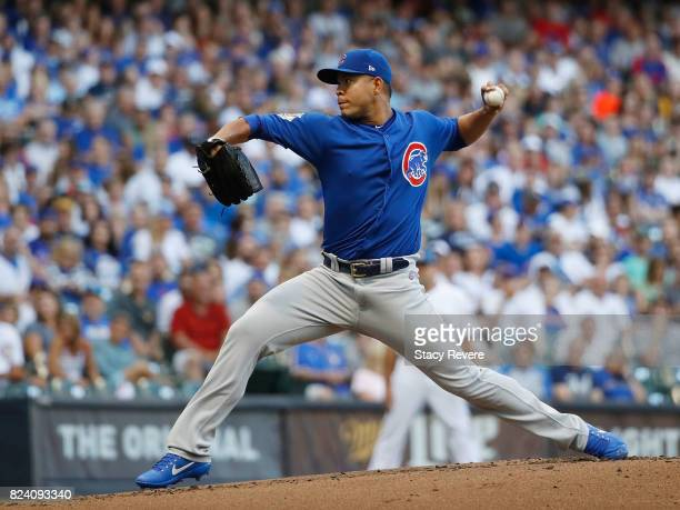 Jose Quintana of the Chicago Cubs throws a pitch during the first inning of a game against the Milwaukee Brewers at Miller Park on July 28 2017 in...