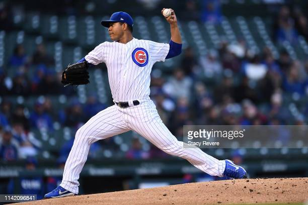 Jose Quintana of the Chicago Cubs throws a pitch during the first inning against the Pittsburgh Pirates at Wrigley Field on April 11 2019 in Chicago...