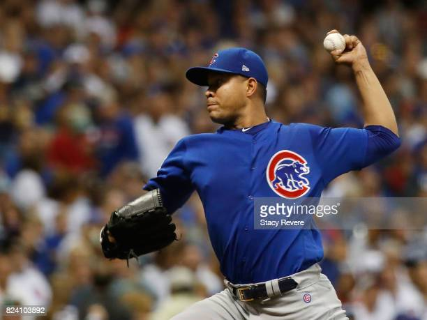 Jose Quintana of the Chicago Cubs throws a pitch during the sixth inning of a game against the Milwaukee Brewers at Miller Park on July 28 2017 in...