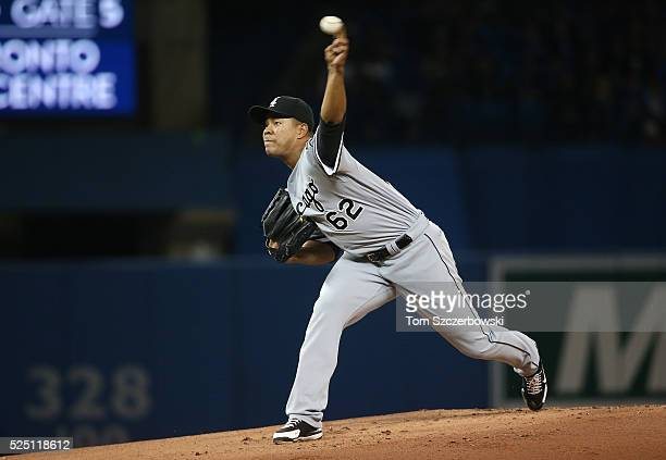 Jose Quintana of the Chicago White Sox delivers a pitch in the first inning during MLB game action against the Toronto Blue Jays on April 27 2016 at...
