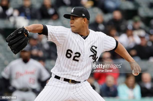 Jose Quintana of the Chicago White Sox delivers the ball against the Detroit Tigers during the opening day game at Guaranteed Rate Field on April 4...