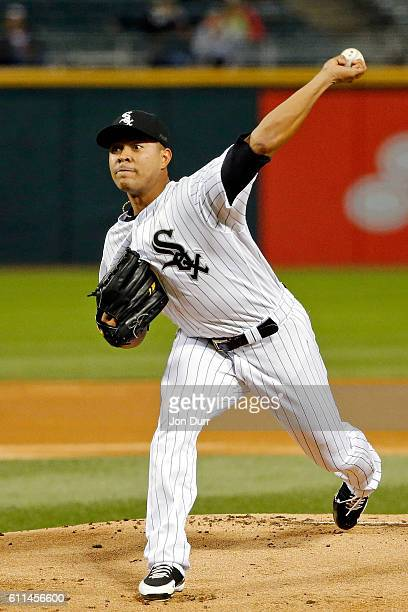 Jose Quintana of the Chicago White Sox pitches against the Tampa Bay Rays during the first inning at US Cellular Field on September 29 2016 in...