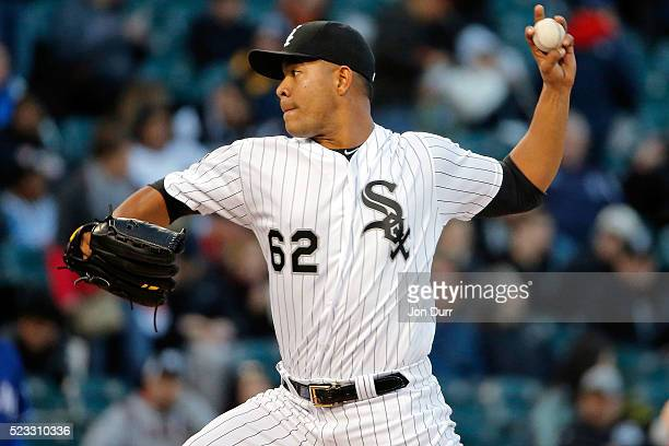 Jose Quintana of the Chicago White Sox pitches against the Texas Rangers during the first inning at US Cellular Field on April 22 2016 in Chicago...