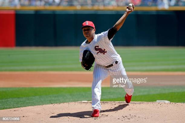 Jose Quintana of the Chicago White Sox pitches against the Texas Rangers during the first inning at Guaranteed Rate Field on July 2 2017 in Chicago...