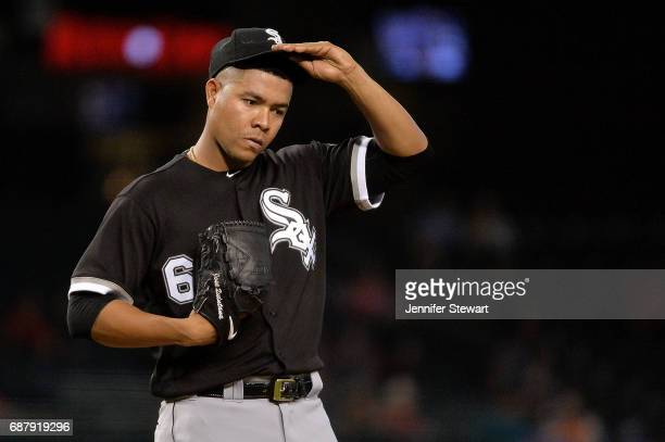 Jose Quintana of the Chicago White Sox reacts in the fifth inning of the MLB game against the Arizona Diamondbacks at Chase Field on May 24 2017 in...
