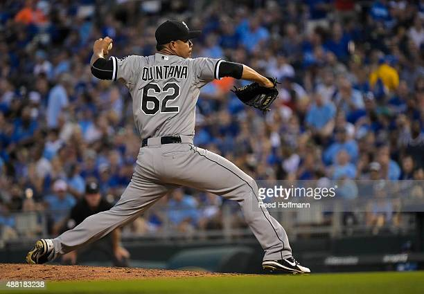 Jose Quintana of the Chicago White Sox throws against the Kansas City Royals during the sixth inning of a game at Kauffman Stadium on September 5...
