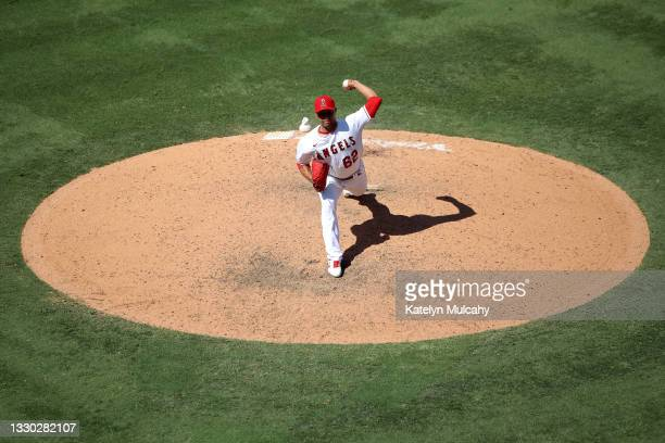 Jose Quintana of the Los Angeles Angels pitches during the eighth inning against the Seattle Mariners at Angel Stadium of Anaheim on July 18, 2021 in...