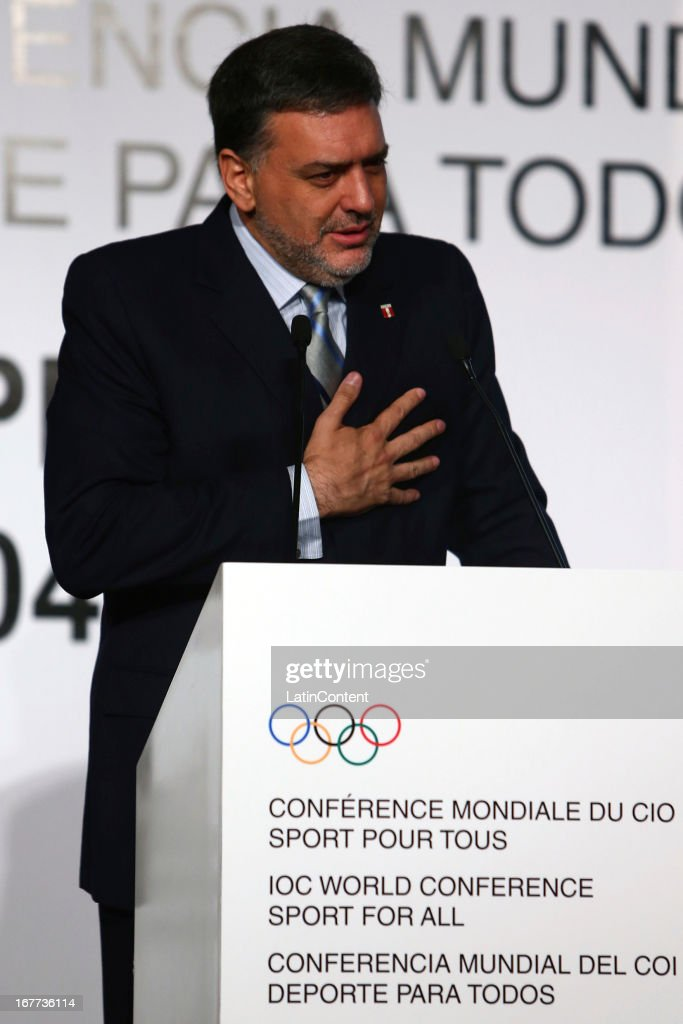 Jose Qui–ones, President of COP, during the Closing Session as part of the of the 15th IOC World Conference Sports For All at Daniel A. Carrion Conference Center on April 27, 2013 in Lima, Peru.