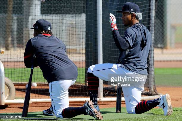 Jose Ramirez and Francisco Lindor of the Cleveland Indians look on during a workout on Wednesday, February 19, 2020 at Goodyear Ballpark in Goodyear,...
