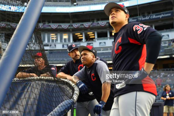 Jose Ramirez and Giovanny Urshela of the Cleveland Indians look on during batting practice prior to Game 3 of the American League Division Series...