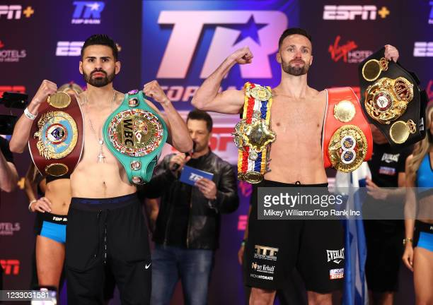 Jose Ramirez and Josh Taylor pose during the weigh-in for the Undisputed junior welterweight championship at Virgin Hotels Las Vegas on May 21, 2021...