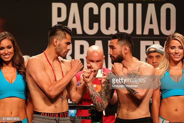 Jose Ramirez and Manny Perez face off during their official weigh-in at MGM Grand Garden Arena on April 8, 2016 in Las Vegas, Nevada. The two will...