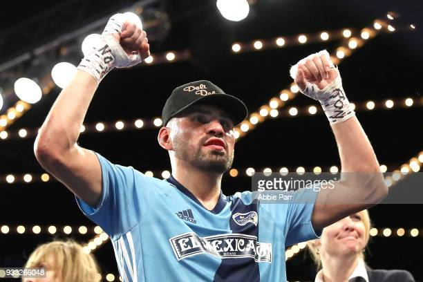 Jose Ramirez celebrates after defeating Amir Imam during their WBC junior welterweight fight at The Theatre at Madison Square Garden on March 17 2018...