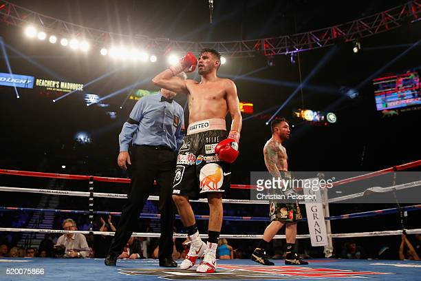 Jose Ramirez celebrates after defeating Manny Perez by unanimous decision in their super lightweight fight on April 9, 2016 at MGM Grand Garden Arena...