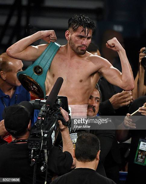 Jose Ramirez celebrates his unanimous-decision victory over Manny Perez in their super lightweight fight at MGM Grand Garden Arena on April 9, 2016...