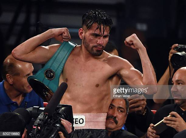 Jose Ramirez celebrates his unanimousdecision victory over Manny Perez in their super lightweight fight at MGM Grand Garden Arena on April 9 2016 in...