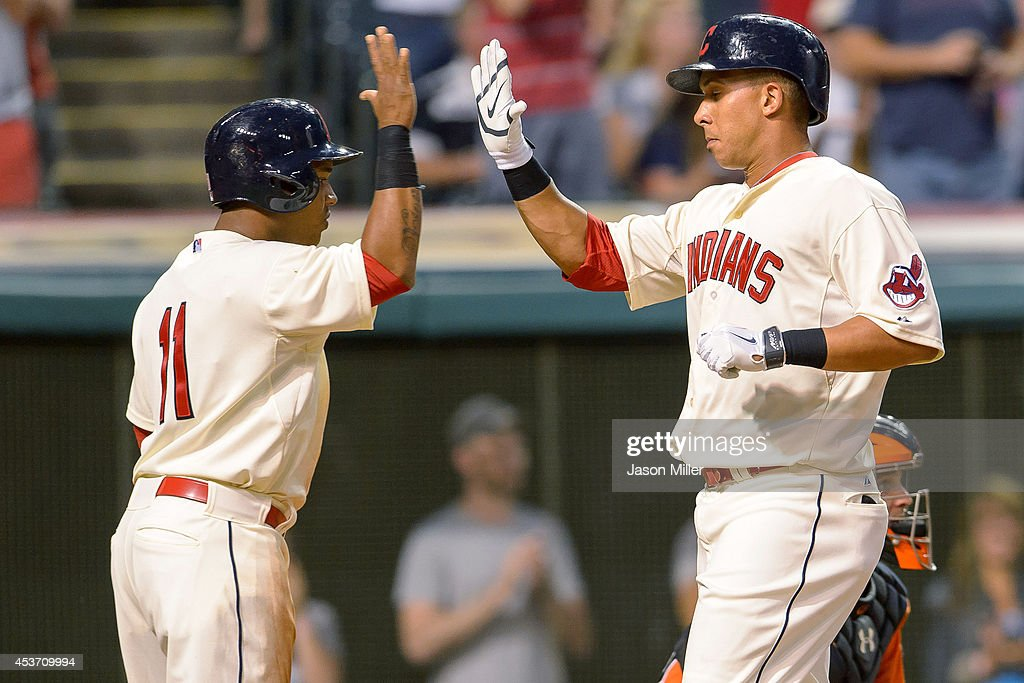 Jose Ramirez #11 celebrates with Michael Brantley #23 of the Cleveland Indians after Brantley hit a two run home run during the fifth inning against the Baltimore Orioles at Progressive Field on August 16, 2014 in Cleveland, Ohio.
