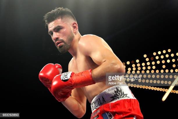 Jose Ramirez fights against Amir Imam during their WBC junior welterweight fight at The Theatre at Madison Square Garden on March 17, 2018 in New...