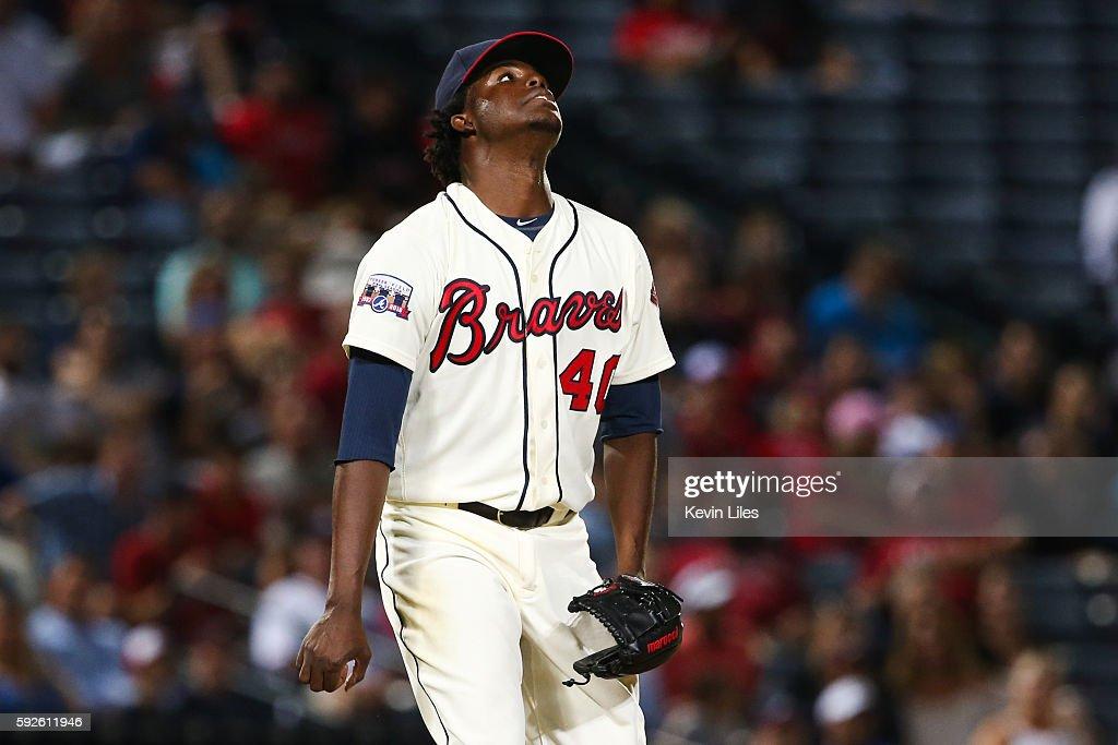 Jose Ramirez #40 of the Atlanta Braves reacts as Ryan Zimmerman #11 of the Washington Nationals hits a sacrifice fly to center during the ninth inning at Turner Field on August 20, 2016 in Atlanta, Georgia. Washington won 11-9.