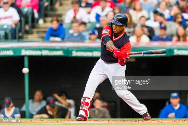 Jose Ramirez of the Cleveland Indians at bat during the first inning against the Kansas City Royals at Progressive Field on August 26 2017 in...